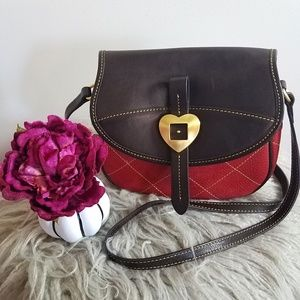 Dooney & Bourke, red and brown leather crossbody